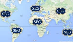 World map marking each continent containing SEG members