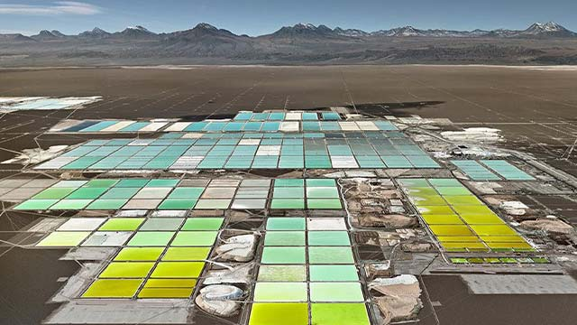 Lithium mine with mountain range in distant background
